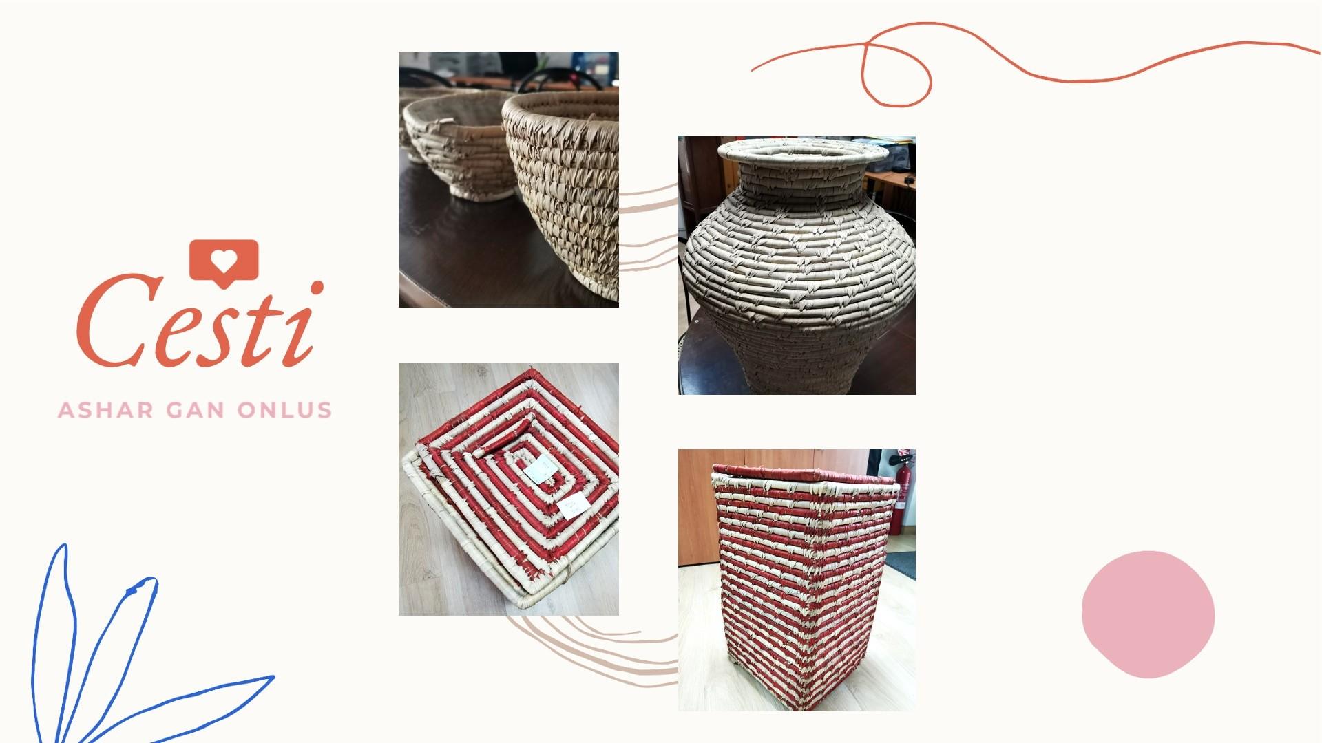 Cesti, oggetti e portaoggetti di vari formati e dimensioni realizzati a mano in Bangladesh: anima di juta avvolta in foglia di palma da dattero.